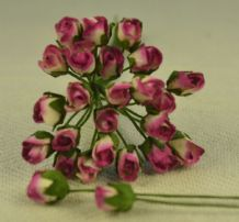 4mm PLUM OFF WHITE ROSE BUDS Mulberry Paper Flowers